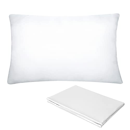 Pro Goleem Toddler Pillow with Satin Pillowcase 13x18 Inch Soft Baby Pillow for Sleeping Infant Child Kid Perfect for Crib, Travel, Toddler Cot, Bed, Car, Best for Summer, White