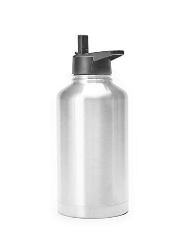 The Lobo 64 OZ Straw Bottle Mega Capacity Insulated Leak&SpillProof Stainless Steel Vacuum Bottle Thermos Transport Keeps Hot&Cold Beverages For Hours|Useful For Coffee Iced Water Tea Alcoholic Drinks