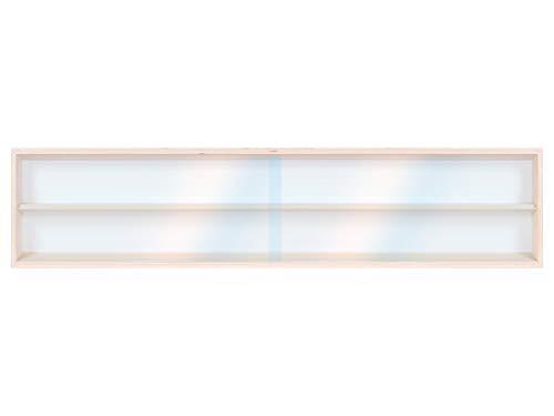 Alsino Vitrine (V130.2) voor modelbouw H0 en N van berkenhout, met 2 plexiglas schijven, afmetingen 130 x 20 x 8,5 cm, vitrine, prikbord, tentoonsteller, verzamelaar