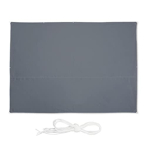 Relaxdays Sonnensegel rechteckig, 3,5 x 4,5 m, wasserabweisend, UV-beständig, mit Spannseilen, Terrasse, Balkon, grau