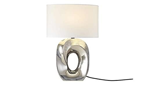 KHG Tischlampe Silber Keramik E27 21,0cm x 53,5cm Tischleuchte Stoffschirm oval Glamour Tischleuchte
