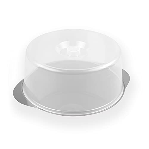 chg 18085-15 Tortenservierplatte in extra starker Edelstahl rostfrei-Qualität 0,7 mm, extra groß mit bruchfester Haube/ø 33.5 cm, Höhe : 14.5 cm
