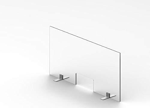 Mampara de Protección para Mostradores 80 x 100 cm, de Cristal de Seguridad Templado de 6mm. de Espesor para mostradores, farmacias, Comercio y oficinas