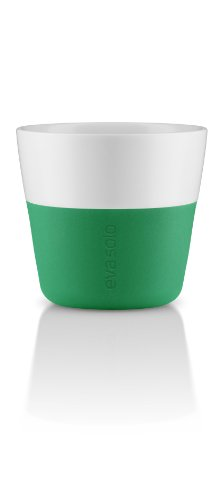 Eva Solo Tasse café Lungo, Coque en Silicone, 230 ML, Porcelaine, Vert Jolly, 8,5 x 8,5 x 8 cm, 2 pièces, 5706631057561 501005