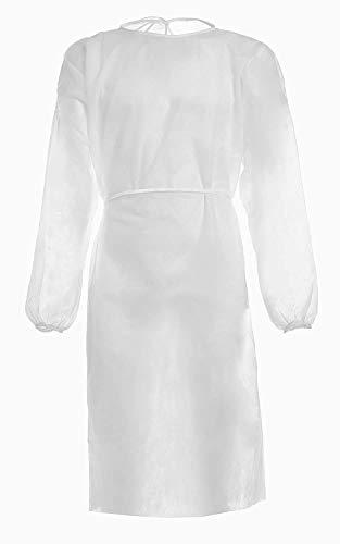 SafeLife Blouse blanche de travail jetable en TNT 30 g, amis blancs médicaux pour homme et femme, tablier léger, imperméable, sans coutures – Fabriquée en Italie