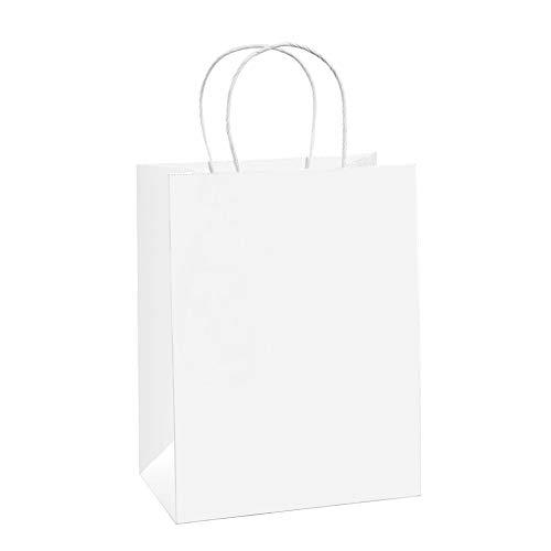 """BagDream 25PCS Shopping Bag 8x4.75x10.5"""", Cub, Paper Bags, Gift Bags, Kraft Bags, Retail Bags, White Paper Bags with Handles"""