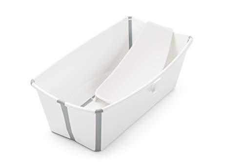 STOKKE® Flexi Bath®│Vasca pieghevole per bambini con supporto ergonomico per neonato│Vaschetta portatile per bambini a partire dai 4 anni│Colore: White