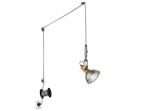 LED Pendellampe mit schwenkbarem Metallschirm in Silber Nickel antik - 6 Meter Kabel mit Stecker und Schnurschalter - vielseitige flexible Innenbeleuchtung