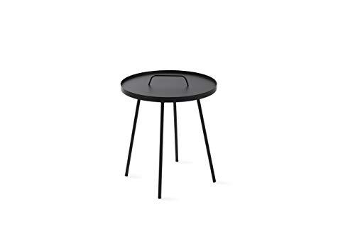 LIFA LIVING runder Beistelltisch aus schwarzem Metall, Moderner Couchtisch im Industrie-Design, Nachttisch mit 5 kg Belastbarkeit, Ø 45 x 49 (H) cm