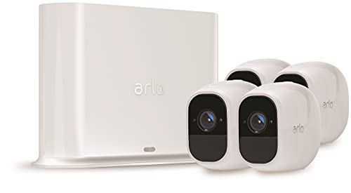 Arlo Pro2 Wireless Home Security Camera System CCTV, Wi-Fi, Alarm, Rechargeable, Night Vision, Indoor or Outdoor, 1080p, 2-Way Audio, Free Cloud Storage, 4 Camera Kit, VMS4430P