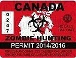 CICIDI 1 - 4' Canada Canadian Zombie Hunting Permit Outbreak Response Decal Bumper Sticker for Envelope Laptop Fridge Guitar Car Motorcycle Helmet Luggage Cases Decor