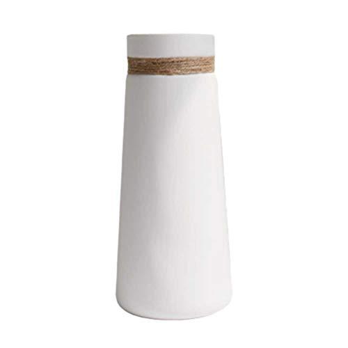 Healifty jarrón de cerámica Blanca Simplicidad Moderna florero de Cuerda de cáñamo Elegante contenedor de Flores para la Oficina del Hotel Decoraciones para el hogar sin Planta (estilo1)