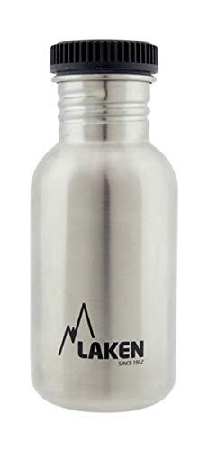 Laken Botella Básica INOX 0,50 L-Tapón Rosca Acero, Adultos Unisex, Negro (Negro), Talla Única