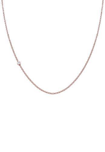 Elli PREMIUM Collares Mujer Llanura Básica con Diamante (0.03 ct) en Plata Esterlina 925