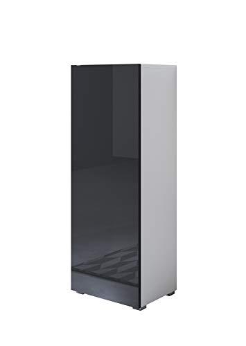muebles bonitos Vitrina Luke V1 (40x128cm) Color Blanco y Negro con Patas estándar
