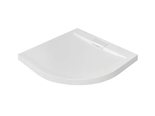 VBChome Duschwanne Duschtasse EXTRA FLACH Viertelkreis 90x90 cm weiß glatt + Ablaufgarnitur Viega fi50 BAD SET Abdeckplatte Sanitär-Acryl