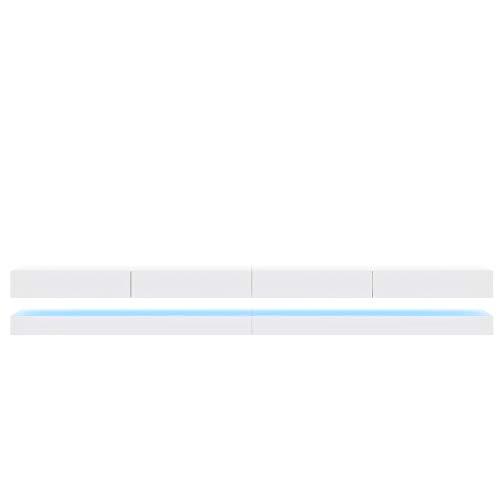Aviator Double - le meuble TV suspendu (280 cm, Blanc mat/ Blanc brillant avec l'éclairage LED bleue)