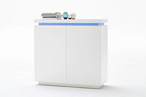 Newfurn Highboard Sideboard Modern Kommode Standschrank Hochschrank II 120x114x 40 cm (BxHxT) II [Liv.Eight] in Weiß/Weiß Wohnzimmer Schlafzimmer Esszimmer
