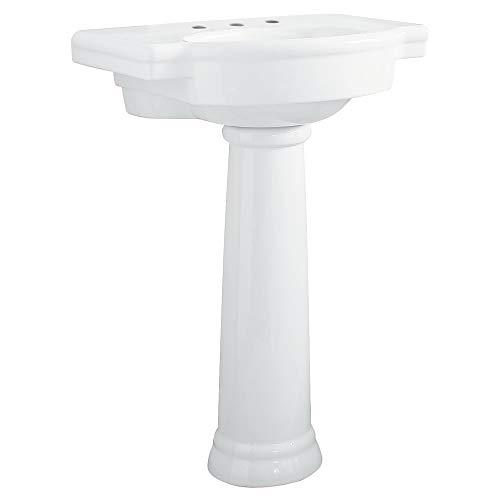 American Standard 0282.800.020 Retrospect Pedestal Bathroom Sink with 8-Inch Faucet Spacing, White