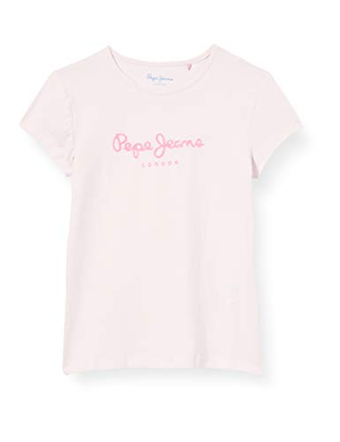 Pepe Jeans HANA Glitter S/S T-Shirt pour fille, Rose (316WASHED PINK), 12 ans