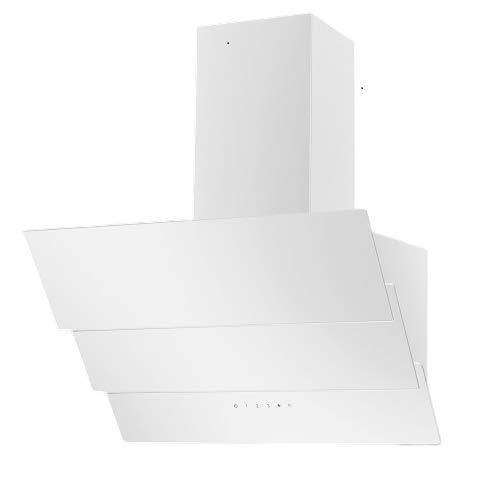 Vlano CELINE 600 Plasm Kopffreie Dunstabzugshaube PLASMA-Luft Reinigung Technologie weiß Glas 600 m³/h Abluftleistung 3 Leistungsstufen leise: unter 61 dB LED Touch - Steuerung (weiss)