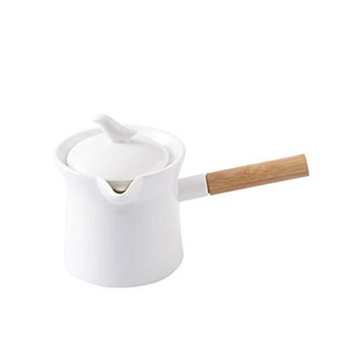 Jarra de leche, Salsera Frascos de alimentos de cerámica de cerámica de color sólido con asas y tapas, mini jarras de leche y teteras de flores, tarros de gran capacidad para elaboración de café Servi