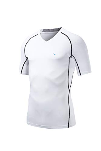 Nooz 4 Way Stretch Men's Cool Tech Quick Dry Compression V-Neck Short Sleeve T Shirt - Large, White