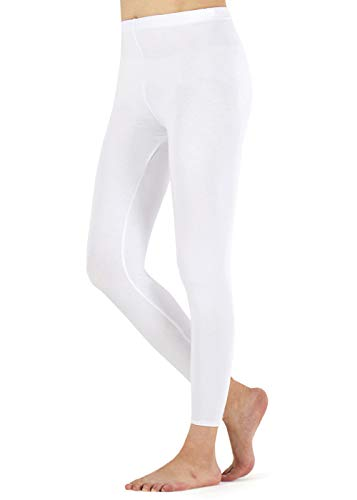 FALARY Leggings Damen Lang Knöchellang Blickdichte Leggins Yoga Tights Viele Größen Weiß M