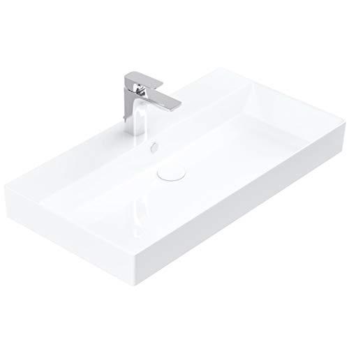 Handwaschbecken zur Wandmontage – Keramik Waschbecken eckig 85 cm – Farbe: Weiß