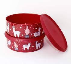 Tupperware Vorratsdosen Keksdose Weihnachten in ROT/Glitzer Motiv Lama 2X 2,4L