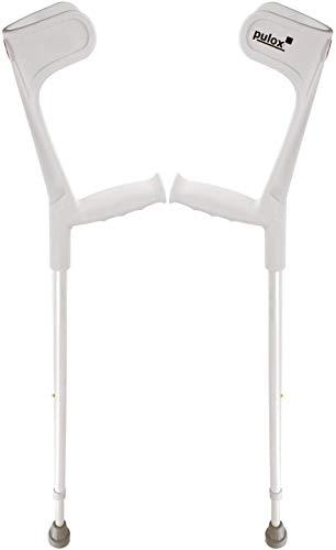 Krücken Paar Klassiker 140 Kg Unterarmgehstützen von Ossenberg mit Ergo Softgriff Gehhilfen Pulox-Design (Grau)
