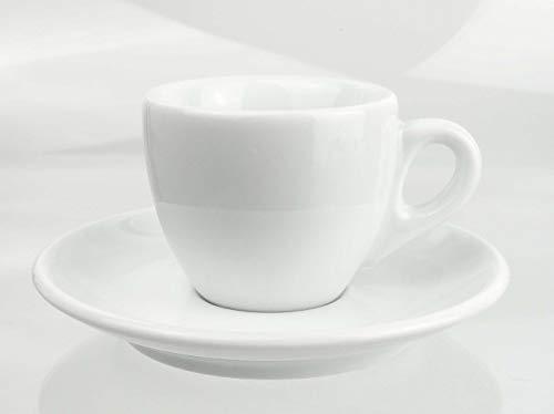 Moka Consorten Extra dickwandige italienische Espressotasse | »Verona« | 0,85 cm Tassenwand | Füllmenge (bis zur Oberkante): 65 ml | handgemacht | 6 Tassen & 6 Untertassen | Made in Italy