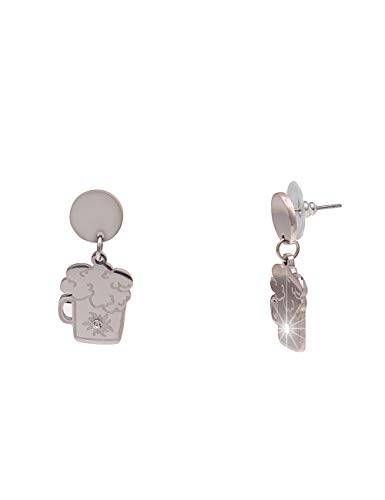 Leslii Damen-Ohrringe silberne Ohrhänger Bier-Krug Oktoberfest Wiesn Trachten-Schmuck Edelstahl Dirndl-Schmuck in Silber