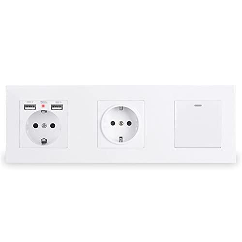 Yuanjing-Switch Enchufe de Pared con 2 Puertos de Carga USB de retroiluminación Suave Oculta + 1 GAND 1 Way ON/Off Rocker Light Switch PC Panel (Rated Voltage : 220-250V, Type : White)