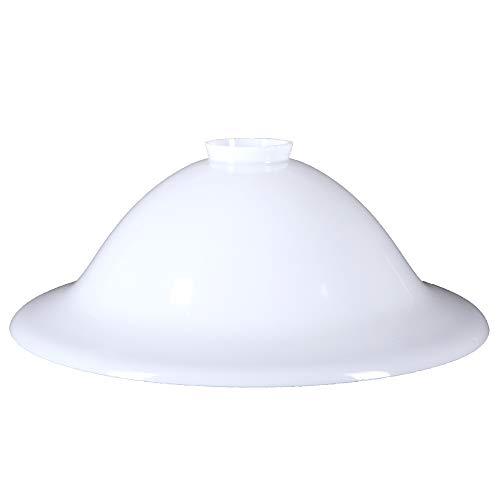 Lámpara de cristal de repuesto con forma de campana, 300 mm de diámetro, color blanco brillante, con cuello