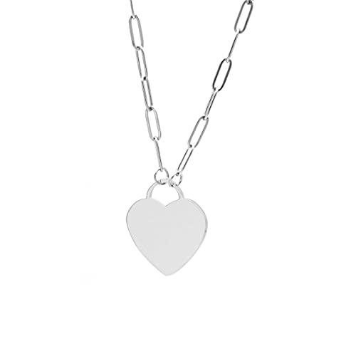 Colours & Beauty - Collar de mujer de acero con forma de corazón, collar para mujer, collar de cadena de mujer, collar de corazón, collar con corazón Liso.