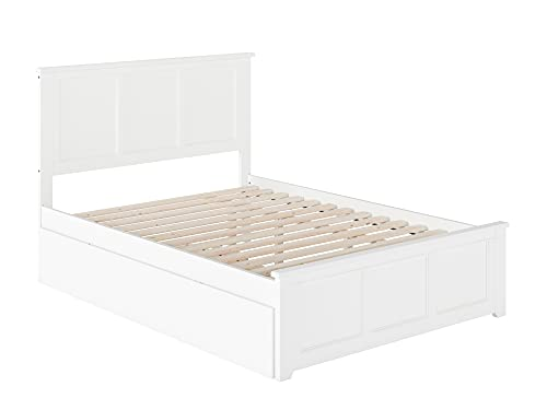 Atlantic Furniture Madison Platform Bed with Matching Foot Board and Twin Size Urban Trundle, Full, White