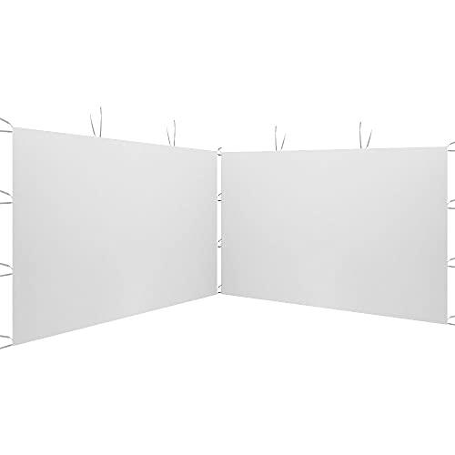 2Pcs Panneau Latéral 3x2m pour Tonnelle de Jardin Tonnelle Pliante Imperméable en Tissu Oxford 210D Gazebo Tente de Reception pour Terrasse Jardin Fête (Blanc A)