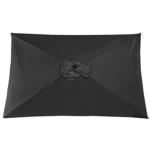 MISNODE Paraguas rectangular de 6,6 x 9,8 pies, para patio, para exteriores, para el mercado, para jardín, terraza, patio, piscina (sin soporte para paraguas, color caqui)