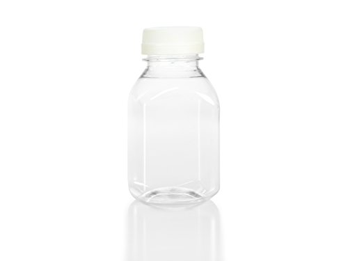 (12) 8 oz. Clear Food Grade Plastic Juice Bottles with Cap (12/Pack) (White)