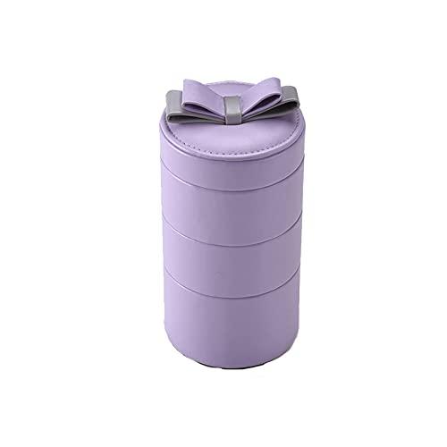 SMEJS Organizador de caja de joyería Regalo de cuero de PU Organizador redondo para niñas Pequeño estuche de almacenamiento de joyería de viaje con espejo para anillos Pendientes Collar Pulser