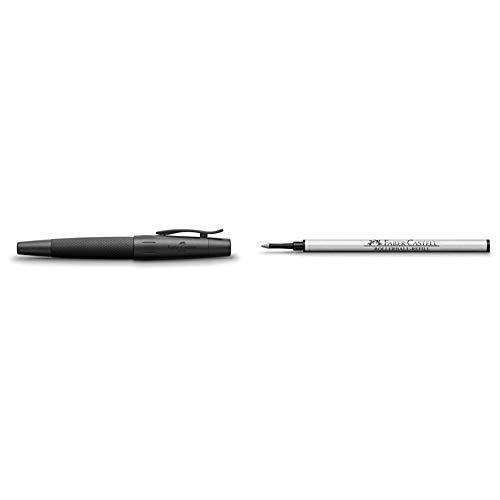 Faber Castell 148625 - Roller E-motion, con cuerpo en aluminio negro, graduación B + Cartucho de tinta de recambio para bolígrafo, color negro