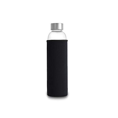 ZHJKK Botella de Agua de Cristal 280ml / 360ml / 550ml Botella de Deporte de Acero Inoxidable Bolsa Protectora BPA Botella de Bebida de Viaje Gratis (Capacity : 550ml, Color : Black)