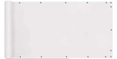 MODKOY Balkon Windschutz 85x700cm, Balkumrandung, 100% Privatsphäre, Wetterbeständiges Wind- und UV-Schutz, mit Ösen, Nylon Kabelbinder und Kordel - Weiß