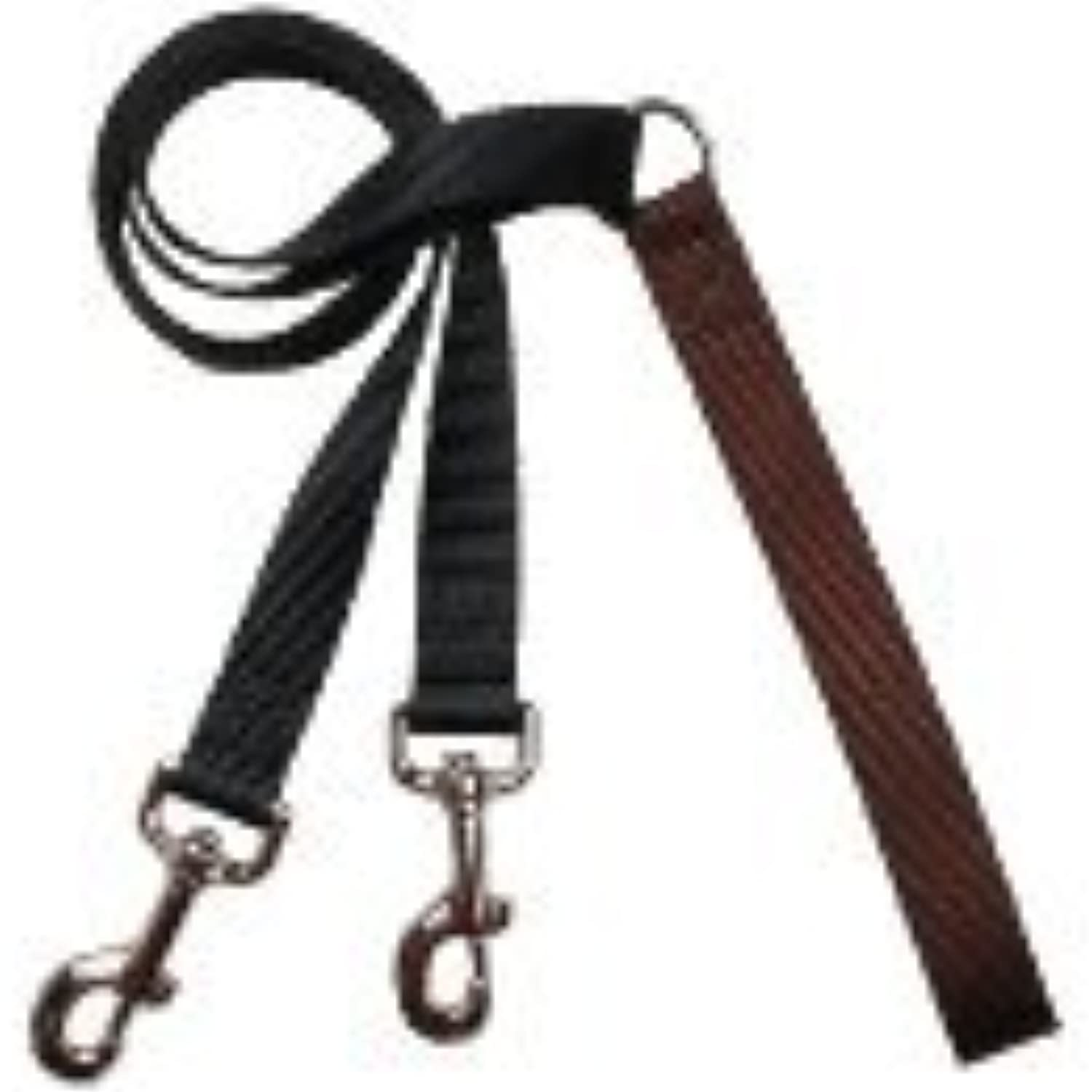 4Configuration Training Leash ONLY, Works with the Freedom No Pull Harness (1  Wide, Black with Brown Handle)