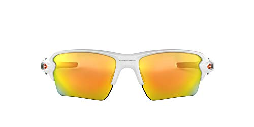 Oakley Men's OO9188 Flak 2.0 XL Rectangular Sunglasses, Polished White/Fire Iridium, 59 mm