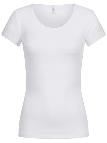 ONLY Damen T-Shirt Onllive Love Life Basic Damenshirt 15205059 White S