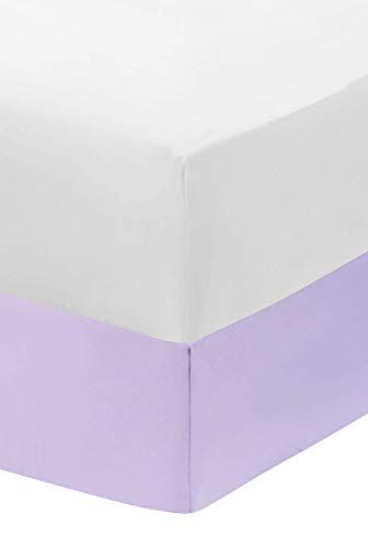 EVERYDAY KIDS 2-Pack Fitted Crib Sheets, 100% Soft Microfiber, Breathable and Hypoallergenic Baby Sheet, Fits Standard Size Crib Mattress 28in x 52in, White Nursery Sheet and Lavender Nursery Sheet