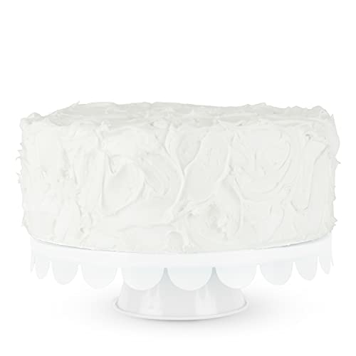 Twine White Stainless Steel Cake Stand, Set of 1, Cupcake Stand, Home Decor, Food Service, Dessert Accessory, 11-Inch Diameter, White
