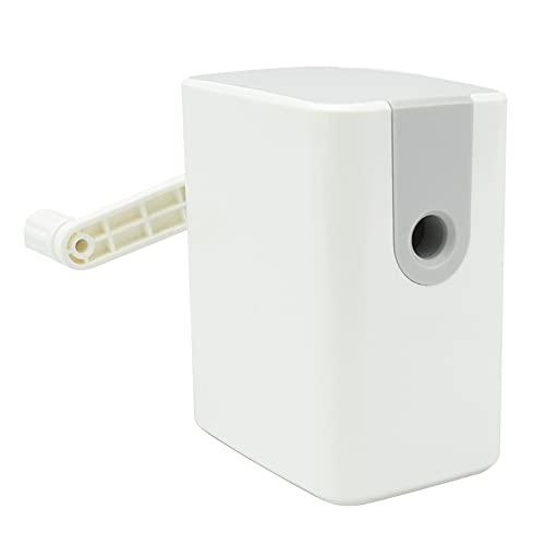 小型 えんぴつ削り器 手動式 コンパクト 滑り止め完備 家庭用 事務用 文房具 (ホワイト)